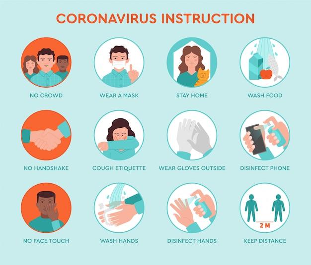 Sset icone infografica di suggerimenti per la prevenzione quarantena coronavirus Vettore Premium