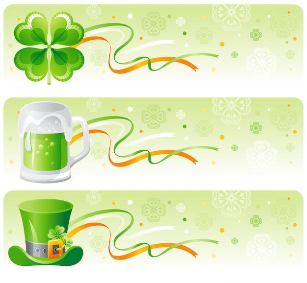 L'insegna del giorno di st patrick ha messo con l'acetosella, la birra verde e il cappello del leprechaun. Vettore Premium