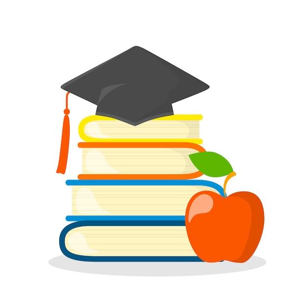 Pila di libri con tappo di laurea in alto. idea di conoscenza ed educazione. illustrazione Vettore Premium
