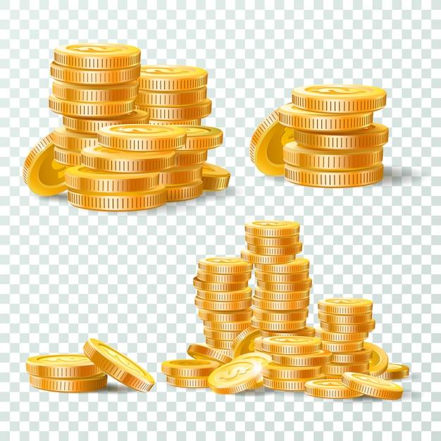 Pila di insieme isolato monete di oro Vettore Premium