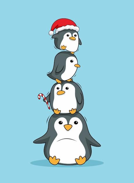 Pinguini impilati buon natale Vettore Premium