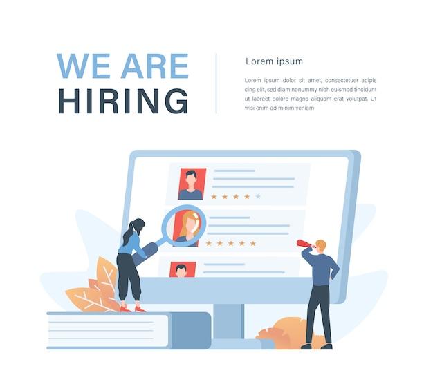 Concetto di affari di personale e reclutamento con illustrazione di reclutatori aziendali che scelgono candidati dipendenti Vettore Premium