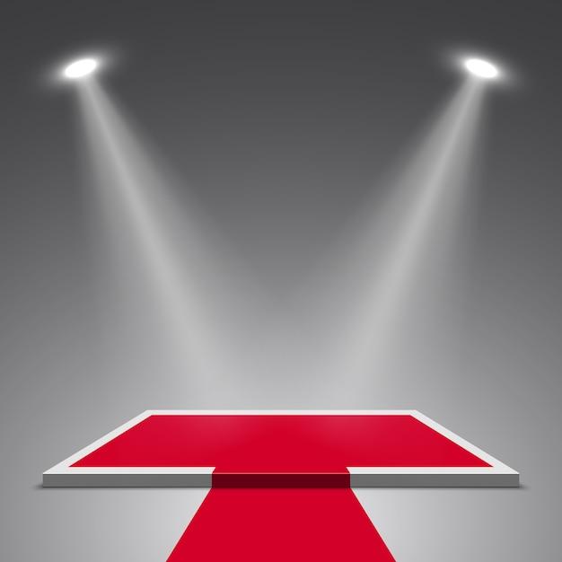 Palco per premiazione e faretti. podio bianco e rosso. piedistallo. scena. illustrazione. Vettore Premium