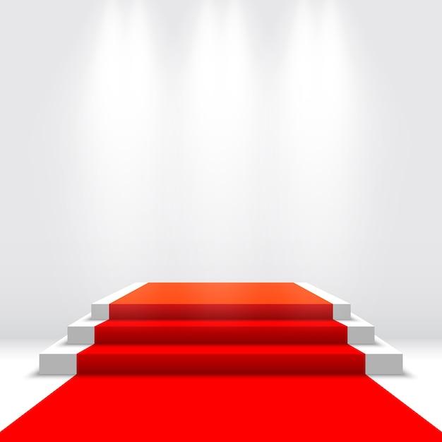 Palco per la cerimonia di premiazione. podio bianco con tappeto rosso. piedistallo. illustrazione. Vettore Premium