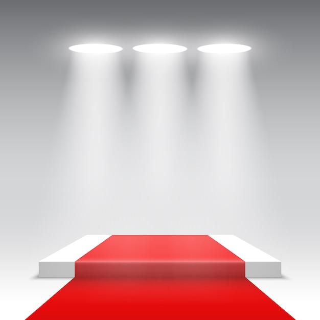Palco per la cerimonia di premiazione. podio quadrato bianco con tappeto rosso. piedistallo. . Vettore Premium