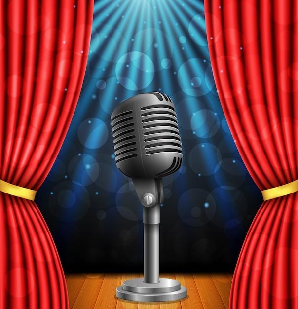 Stage con curtians rossi, microfono e riflettori. Vettore Premium