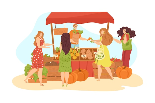 Mercato di stallo sulla strada con cibo e verdure sta isolati su bianco. bancarella del mercato, gente che fa compere e donna che vende frutta fresca biologica e veletables. mercato. Vettore Premium