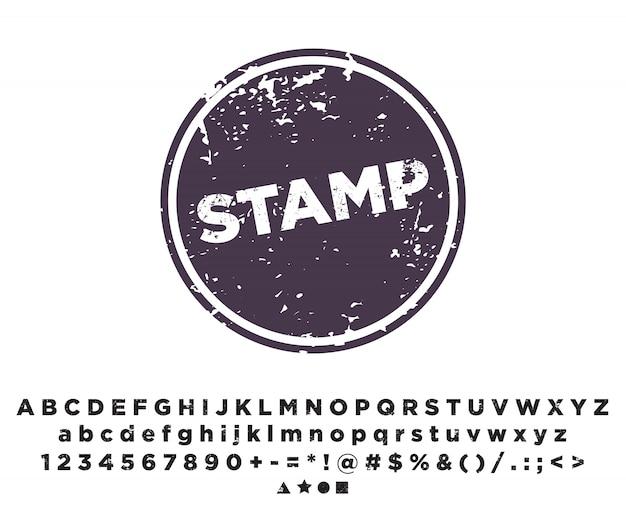 Modello di timbro. stampaggio dei caratteri alfabetici. Vettore Premium