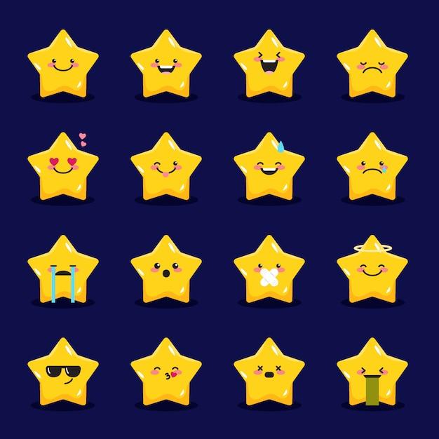 Collezione di emoticon di stelle Vettore Premium
