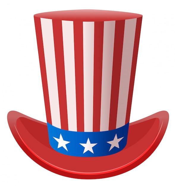 Stella a strisce cappello di zio sam simbolo stati uniti d'america Vettore Premium