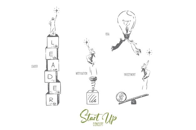 Avviare l'illustrazione di schizzo del concetto di investimento Vettore Premium