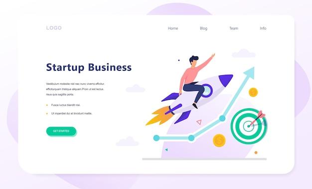 Banner web di concetto di avvio. utile aziendale e crescita finanziaria. strategia di successo. illustrazione in stile cartone animato Vettore Premium