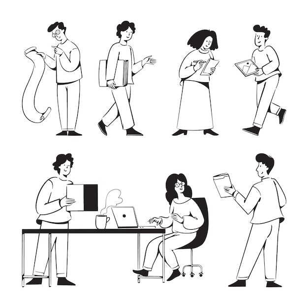 Doodles di attività di startup per il sito web dell'agenzia di marketing Vettore Premium