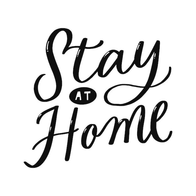 Stare a casa scritte a mano Vettore Premium