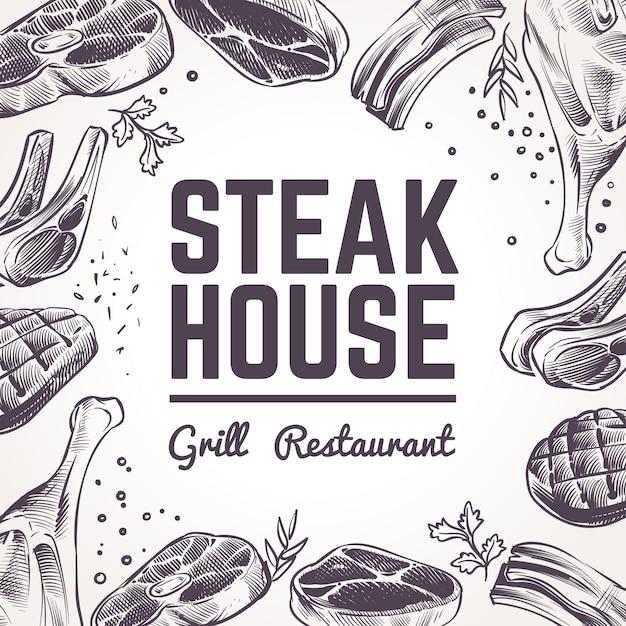 Fondo della casa di bistecca con carne di schizzo Vettore Premium