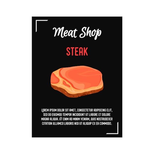 Poster di carne bistecca, banner per barbecue Vettore Premium