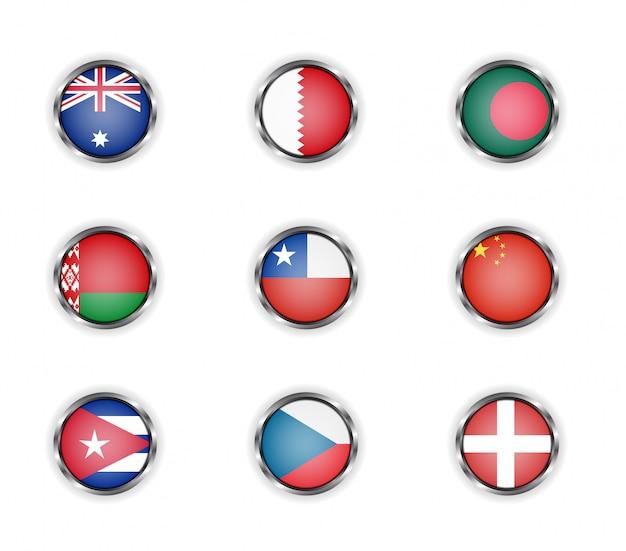 Bottoni rotondi in acciaio con bandiere di paesi australia, bahrain, bangladesh, bielorussia, cile, cina, cuba, repubblica ceca e danimarca Vettore Premium