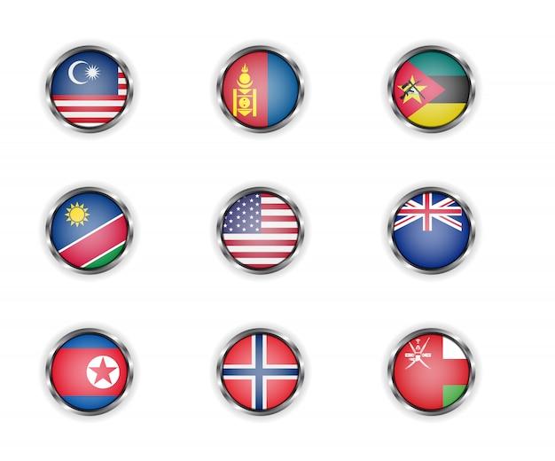 Bottoni rotondi in acciaio con bandiere di paesi della malesia, mongolia, mozambico, namibia, usa, nuova zelanda, corea del nord, norvegia e oman Vettore Premium