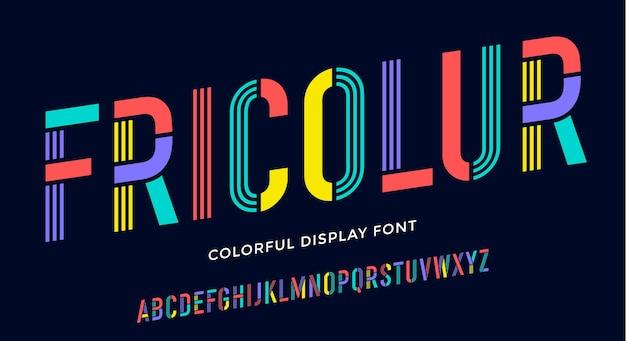 Carattere stencil. alfabeto condensato colorato e carattere di linea. Vettore Premium