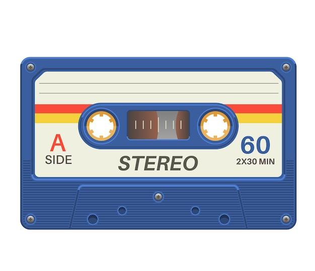 Cassetta stereo. nastro audio retrò con record di musica per poster vintage Vettore Premium
