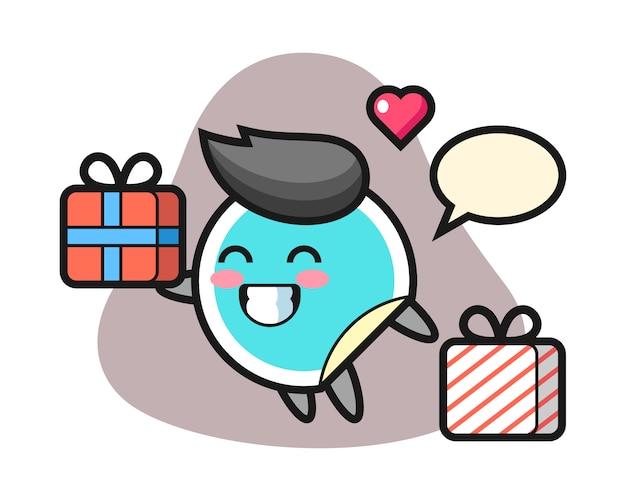 Adesivo cartone animato che dà il regalo Vettore Premium