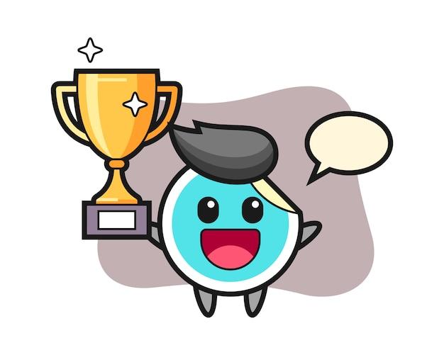 Adesivo cartone animato felice alzando il trofeo d'oro Vettore Premium