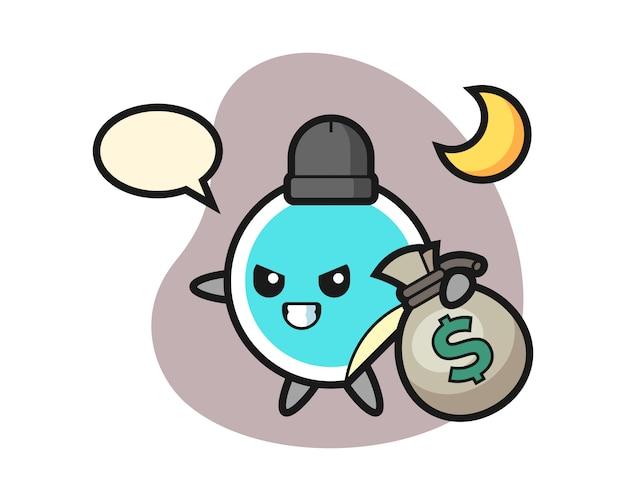 Adesivo cartone animato rubato i soldi Vettore Premium