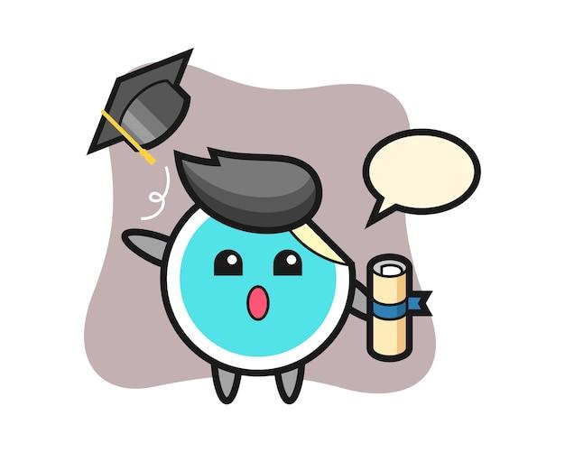 Cartone animato adesivo che lancia il cappello alla laurea Vettore Premium