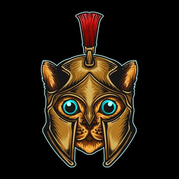 Adesivo e t-shirt mascotte personaggio logo gatto spartano con cappello natalizio Vettore Premium