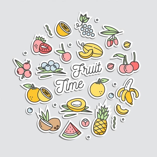 Set di adesivi in badge patch e spille con frutta di cartone animato. adesivi diversi. scarabocchi pazzi estate frutta esotica. Vettore Premium