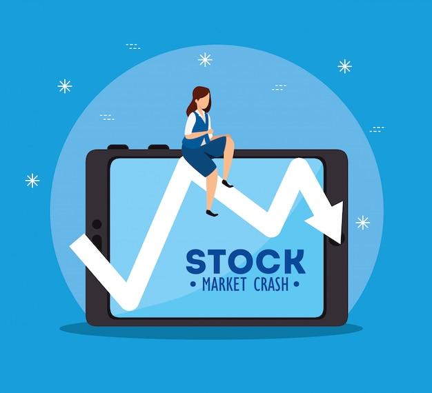 Crollo del mercato azionario con dispositivo imprenditrice e tablet Vettore Premium