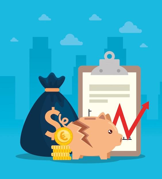 Crollo del mercato azionario con salvadanaio e elementi di business Vettore Premium