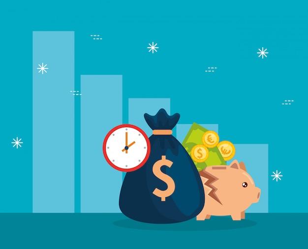 Crollo del mercato azionario con salvadanaio e icone di affari Vettore Premium