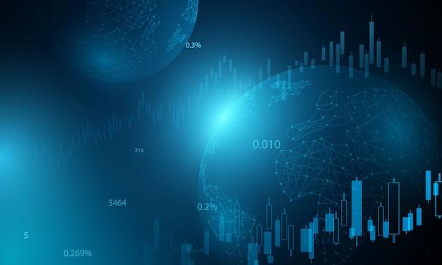 Mercato azionario, grafico economico con diagrammi, concetti e rapporti commerciali e finanziari, priorità bassa astratta di concetto di comunicazione di tecnologia Vettore Premium