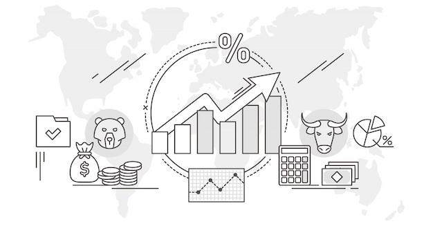 Illustrazione di analisi dei dati di concetto del profilo del mercato azionario Vettore Premium