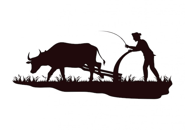 Stock vettoriale silhouette agricoltore che ara mucca nel campo Vettore Premium