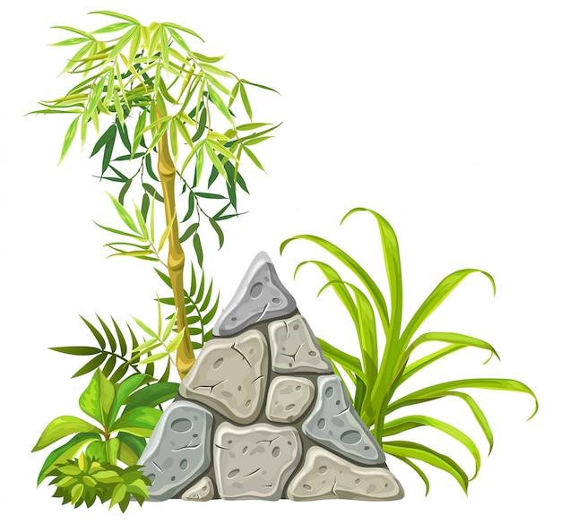 Tavola di pietra con rami e foglie di bambù. Vettore Premium