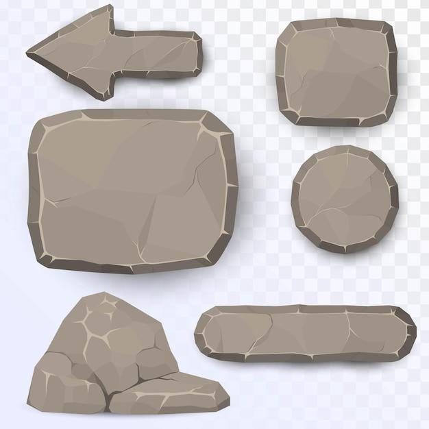 Set di elementi in pietra Vettore Premium