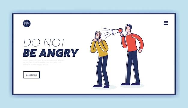 Fermare il modello di pagina di destinazione dell'aggressività con l'uomo arrabbiato che grida Vettore Premium