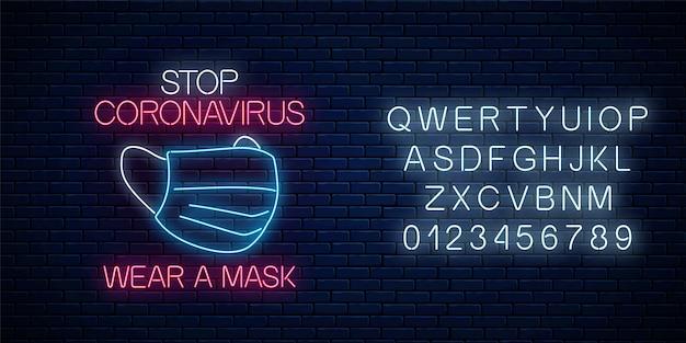 Smettere di insegna al neon coronavirus con maschera medica. simbolo di avvertenza del virus covid-19 in stile neon con alfabeto Vettore Premium