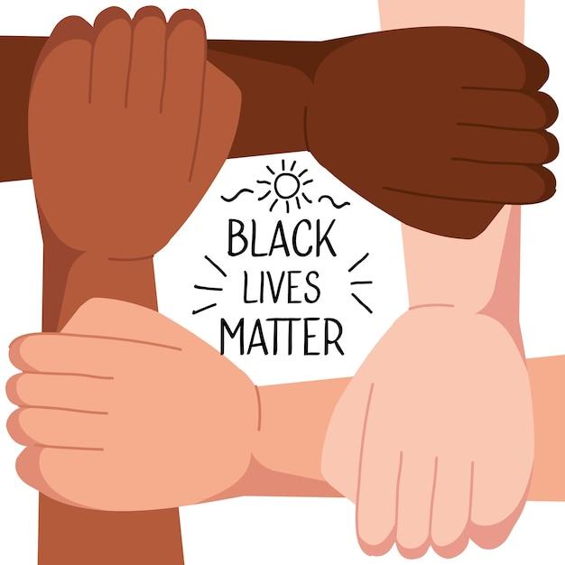 Fermare il razzismo, con quattro mani unite, le vite nere contano il concetto di illustrazione Vettore Premium