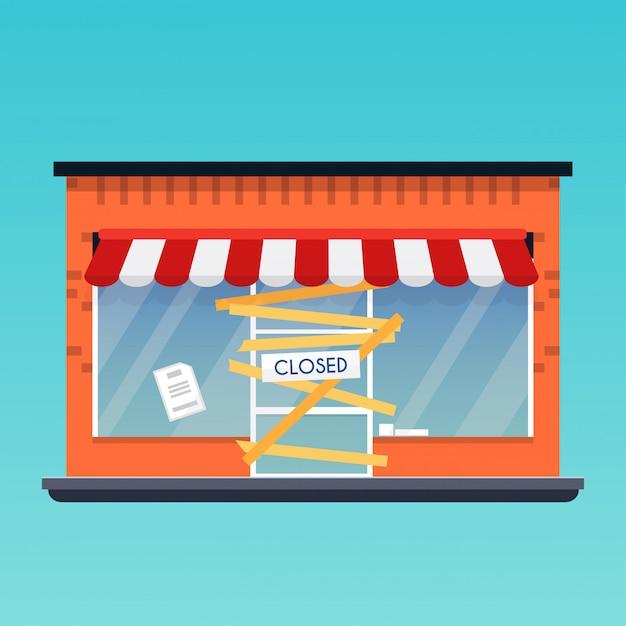 Il negozio è chiuso / in bancarotta. concetto di business moderno design piatto. Vettore Premium