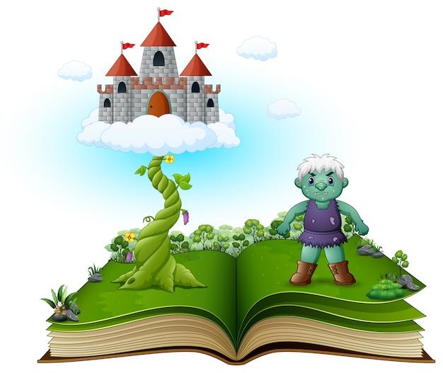 Libro di storia con magico fagiolo magico Vettore Premium