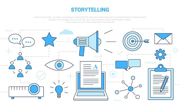 Concetto di narrazione con set di icone modello banner con moderno stile di colore blu Vettore Premium