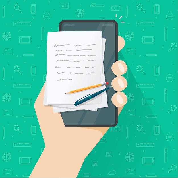 Creazione di contenuti di storytelling o scrittura di articoli sul cellulare Vettore Premium