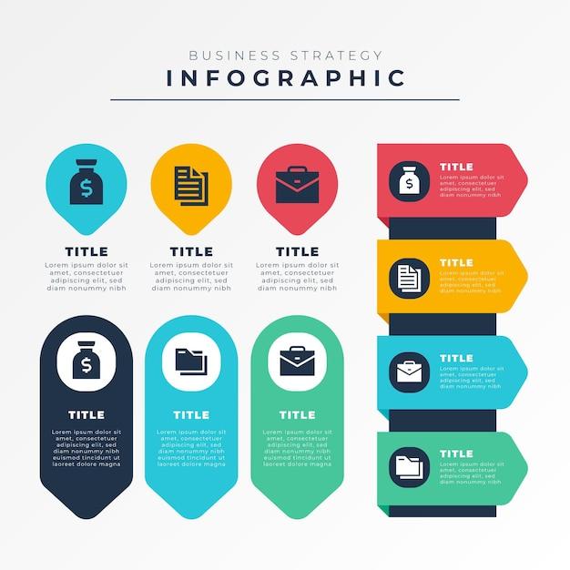 Concetto di strategia infografica Vettore Premium