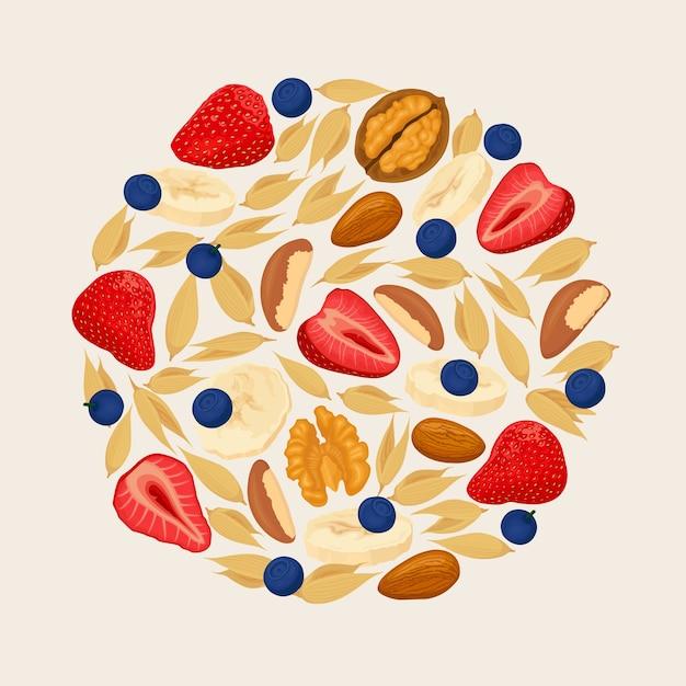 Fragola mirtillo noce mandorle cereali su sfondo chiaro. mucchio di bacche, banane e noci. illustrazione Vettore Premium