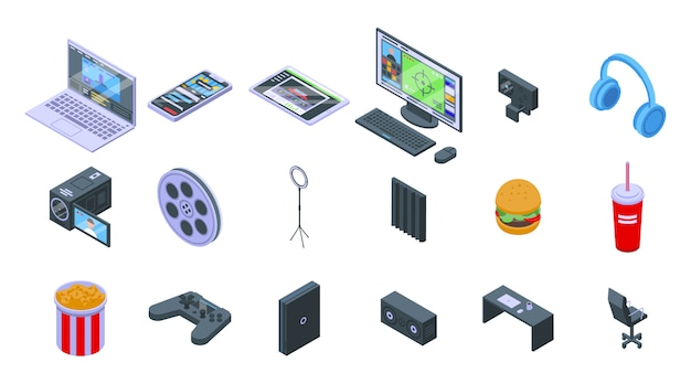Set di icone di flusso. insieme isometrico delle icone di vettore del flusso per il web design isolato su spazio bianco Vettore Premium