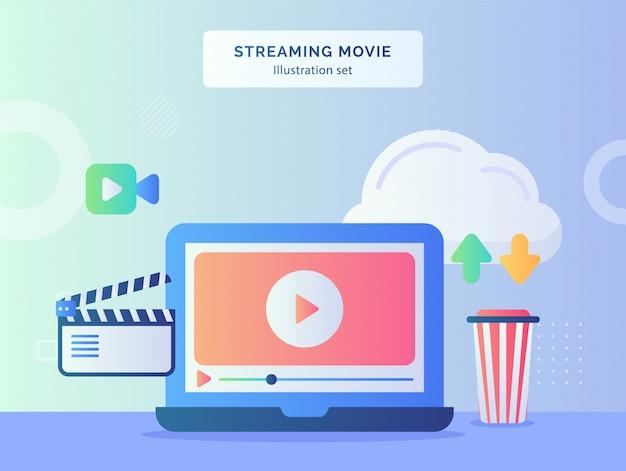 Set di illustrazioni di film in streaming che riproducono il download del caricamento della nuvola dell'icona del film della fotocamera nelle vicinanze con uno stile piatto Vettore Premium