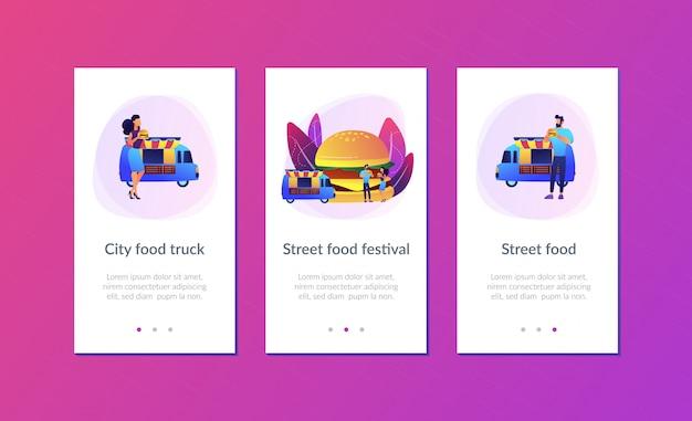 Modello di interfaccia app street food. Vettore Premium